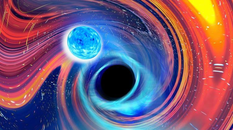Rainbow Swirl (tęczowe zawirowanie) - artystyczna wizja czarnej dziury połykającej gwiazdę neutronową / Źródło: Carl Knox, OzGrav, Uniwersytet wSwinburne