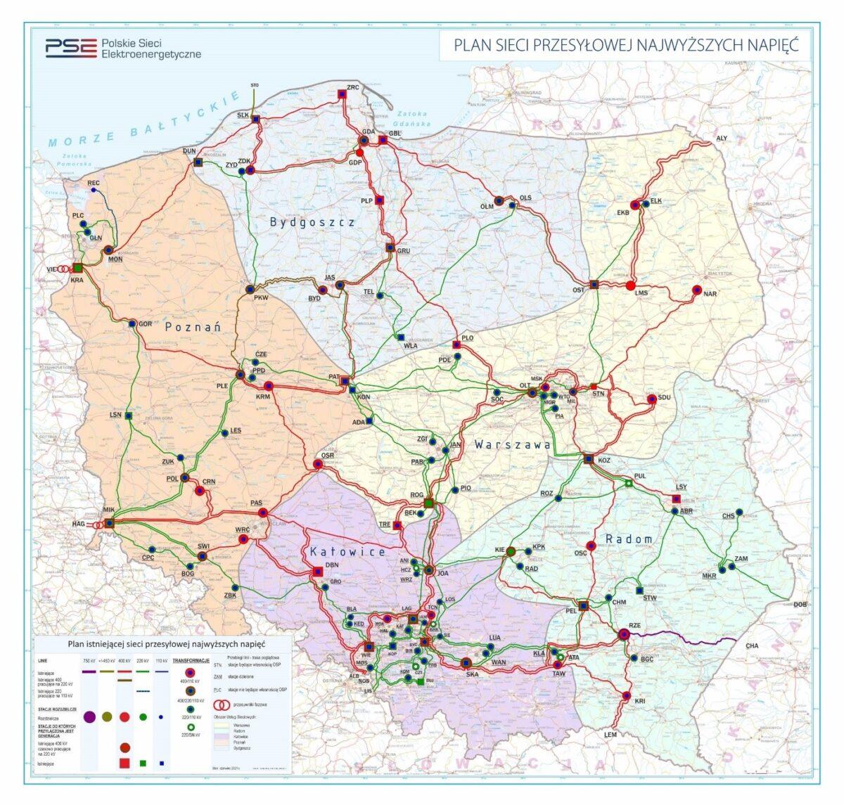 Plan sieci przesyłowej najwyższych napięć / Źródło: pse.pl